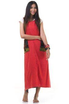 Princess of Asia ชุดเดรสยาวผูกเอว เดรสผ้าฝ้ายปะดอกไม้ (สีชมพูบานเย็น)