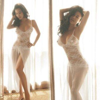 Harga Sexy Lace Lingerie Set V Neck White Nightwear Sexy Lingerie Lace Set (Dress + G-String) - intl