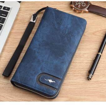 A-shop กระเป๋าใส่เช็ค กระเป๋าเงิน กระเป๋าผ้าแคนวาสทรงยาว กระเป๋าสตางค์ Lucky-W1428B-Blue