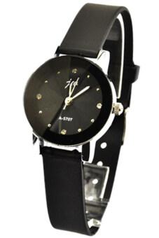 BlueLans สตรีสีดำรัดนาฬิกาหนังเทียม