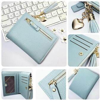 Korean style กระเป๋าสตางค์ผู้หญิงใบสั้น รุ่น AC-002LTBU(สีฟ้าอ่อน)
