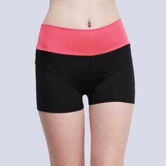 กางเกงลำลองผ้าแถบหญ้าคาพวกกีฬาออกกำลังกายโยคะวิ่งขาสั้น (สีแดง)