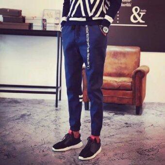 Save กางเกงขายาว ขาจ้ำยางยืด เอวผูกเชือก กระเป๋า2 ข้าง (สีน้ำเงิน) รุ่น 115
