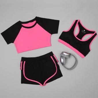 Dolly ชุดออกกำลังกาย ชุดโยคะ 3ชิ้น เสื้อเเขนสั้น(792) +กางเกงขาสั้น(901) +บรา(802) สีชมพู