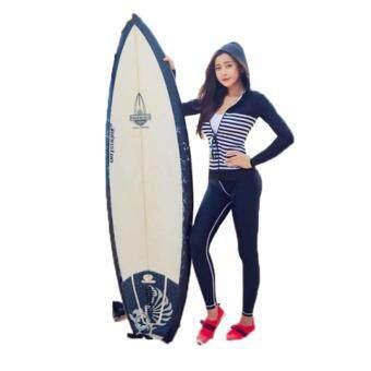 [หญิง] ชุดว่ายน้ำคู่รัก แขนยาว Stripe hood jacket เซ็ต 4 ชิ้น ไซต์ M-XL # 8003