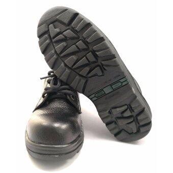 รองเท้าเซฟตี้ รองเท้านิรภัย รองเท้าหัวเหล็ก ผลิตจากหนังวัวแท้ หนังลาย