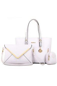 RichCoco SET กระเป๋าแฟชั่นเกาหลี + กระเป๋าถือผู้หญิง + กระเป๋าสะพายข้าง เซ็ต 3 ใบ (สีขาว)