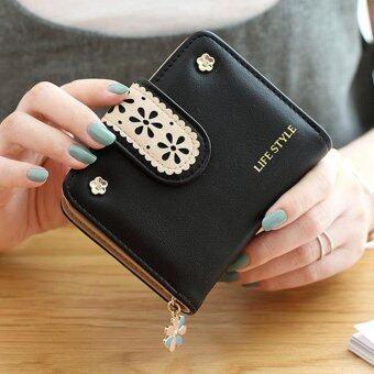Wichu Bag กระเป๋าเงินผู้หญิง กระเป๋าสตางค์ ใบสั้น กระเป๋าสตางค์ตามวันเกิด รุ่น LW-047 (สีดำ)
