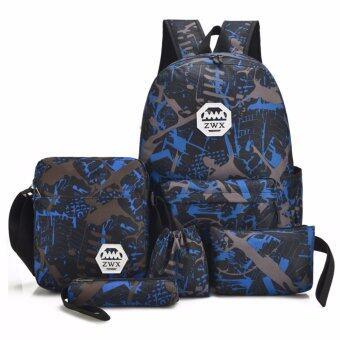 B2K กระเป๋าเป้ สะพายหลัง กระเป๋าเป้เดินทาง Backpack เท่ๆ ผู้หญิง ผู้ชาย กระเป๋าเป้แฟชั่นญี่ปุ่น เช็ตสุดคุ้ม 5 ชิ้น/เซ็ต