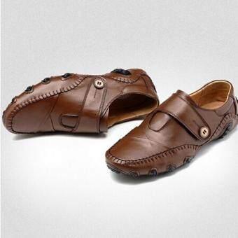 แฟชั่นชายหญ้าคา Loafers รองเท้าลำลองรองเท้าพื้นราบลื่นหนังแท้ (สีน้ำตาล)