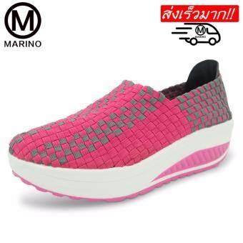 Marino รองเท้าคอมฟอร์ท รองเท้าเสริมความสูงสำหรับผู้หญิง รองเท้าแฟชั่น No.A017 - Pink
