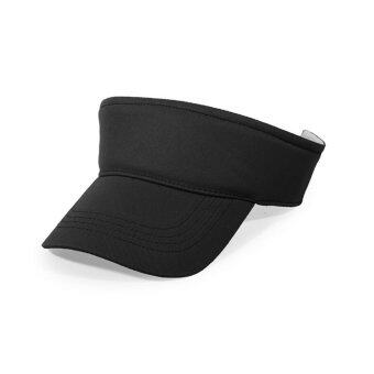 Harga IBERL Plain Visor Sun Cap Sport Hat Adjustable Velcro Tennis Beach Men Women (Black) - intl