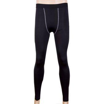 กีฬาออกกำลังกายวิ่งอัดสุขาถุงน่องกางเกงสกินนี่กางเกงเพาะกายสีดำ