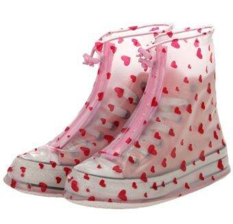 ปลอกรองเท้ากันน้ำ มุ้งมิ้งระดับ10 สีใสลายหัวใจ ความยาว27 cm