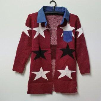 เสื้อคลุมไหมพรมง แขนยาว คอปกและกระเป๋าผ้ายีนส์ ลายดาว สีแดง