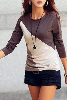แฟชั่นเกาหลีสาว Hotyv สวมเสื้อเชิ้ตแขนยาวสีเข้มเสื้อยืด HTS051 กากี