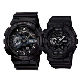 Harga Casio G-Shock GA-110-1B and Baby G BA-110BC-1A Couple Resin Strap Watch Black