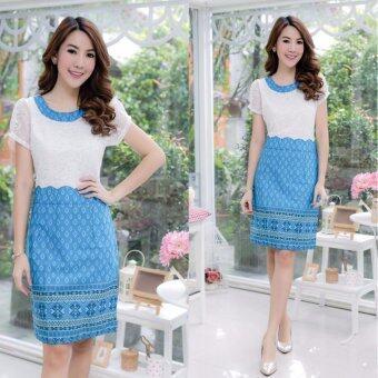 Pitchaya ชุดเดรสตัวเสื้อลูกไม้สีขาว กระโปรงคอตตอนพิมพ์ลายไทย k185(สีฟ้า )