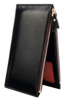 Sanwood คนถือบัตรเครดิตหนังเทียมซิปกระเป๋าสตางค์สีดำ