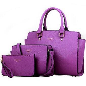RichCoco SET กระเป๋าแฟชั่นเกาหลี + กระเป๋าถือผู้หญิง + กระเป๋าสะพายข้าง + เซ็ต 3 ใบ (สีม่วง)