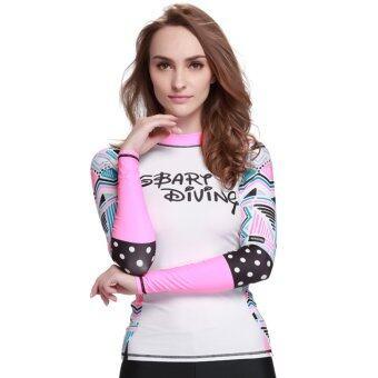 ผู้หญิงชุดว่ายน้ำสำหรับดำน้ำลึกดำน้ำตื้นเสื้อแขนเสื้อยาวตกน้ำว่ายผื่นยามฤดูใบไม้ร่วงใส่-Digital41
