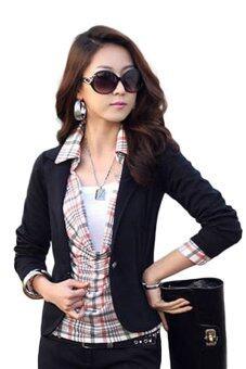 2558 Fancyqube ทันสมัยเพรียวสง่างามสตรีคอเสื้อแขนเสื้อยาวคลุมปุ่มหนึ่งหญิงเสื้อนอกเบลเซอร์สูทแจ็คเก็ตสั้นสตรีสีดำ