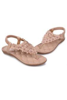 รองเท้าสตรีดอกไม้โบฮีเมีย femininas sandalias ลำลองรองเท้าหนังสตรีแฟลต (สีเบจ)-ระหว่างประเทศ