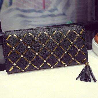 ฺBag Fashion กระเป๋าสตางค์แบบรูดซิบ ปักกระดุมคาดสีทอง (สีดำ) รุ่น1777