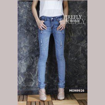 FIREFLY กางเกงยีนส์ขายาว แต่งขาดนิดๆ รุ่น MON9926