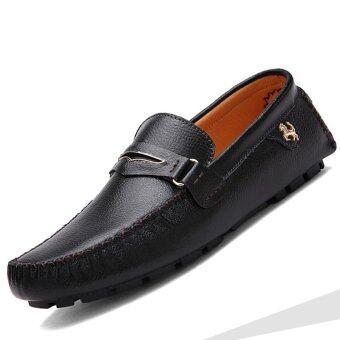 PINSV หนังแท้รองเท้าลำลอง Loafers แฟลตคนออกแบบ (สีดำ)