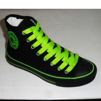 Mashare รองเท้าผ้าใบแฟชั้น มาแชร์หุ้มข้อ M-FIVE สีดำสาปเขียว