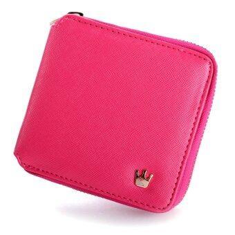 สตรีกระเป๋าสตางค์กระเป๋าถือสตรีหนังสั้นยอดคว้ากระเป๋าถือกระเป๋าที่เก็บบัตรเหรียญกุหลาบแดง
