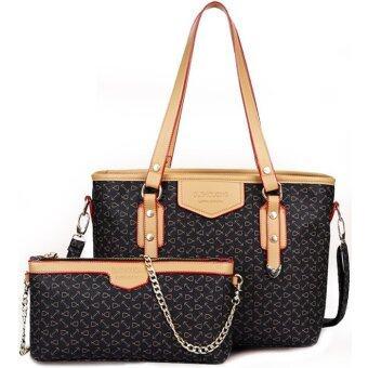 RichCoco กระเป๋าแฟชั่นเกาหลี + กระเป๋าสะพายข้าง เซ็ต 2 ใบ(สีน้ำตาล)