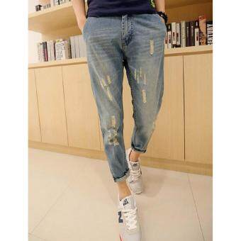 Save กางเกงยีนย์ขายาว แต่งขาด พับขา (สียีนย์ฟ้า) รุ่น X14