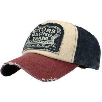 แฟชั่นเรโทรเพศหญิงชายหมวกเบสบอลปรับได้รถจักรยานยนต์ Snapback หมวกฮิปฮอปมณฑลเบอร์กันดี