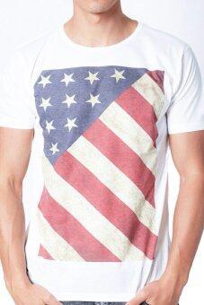 5th Avenue เสื้อยืดคอกลม Usa Flag Front Print (White)