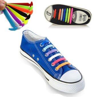 ชุด 16pcs / ( สี multicolor ) แฟชั่น unisex ผู้หญิงผู้ชายแข็งแรงวิ่งไม่มีเชือกรองเท้าผูกยางยืดลูกไม้รองเท้ารองเท้าผ้าใบใส่สายรัดซิลิโคนทั้งหมด - intl