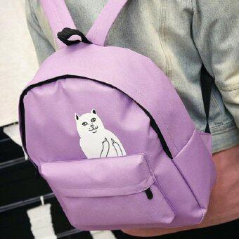 ฺBag DD กระเป๋าเป้สะพายหลังแฟชั่น สกรีนลายแมว รุ่น019 (สีม่วง)