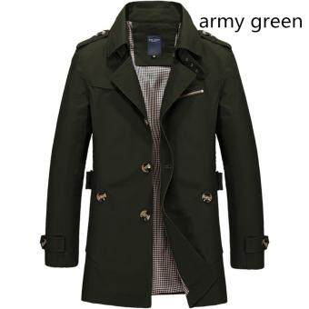 Harga Men's Fashion New Winter Jeep Casual Jacket Long Paragraph Cotton Washed Large Code Coat (Army Green) - intl