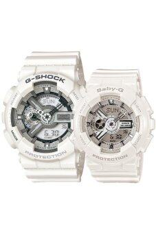 Harga Casio G-Shock and Baby-G Couple White Resin Strap Watch GA-110C-7A & BA-110-7A3