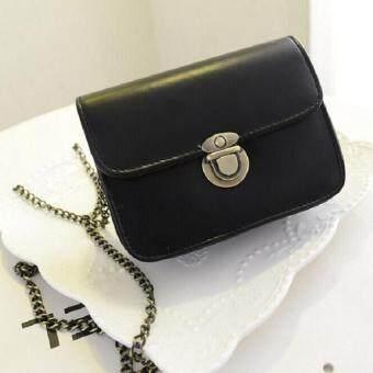 Bag Fashion กระเป๋าสะพายข้าง สลักล็อคสายโซ่ รุ่น302 (สีดำ)