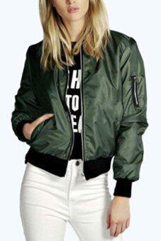 ยาวแขนเสื้อแฟชั่นผู้หญิงฤดูใบไม้ร่วงบางกีฬาลำลองเสื้อแจ๊กเกต Amy สีเขียว (ส่งออก)