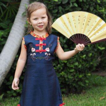 Princess of Asia ชุดเดรสเด็กผู้หญิง ชุดเดรสทรงจีน (สีกรมท่า)