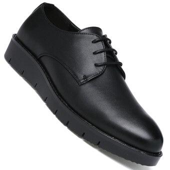 PINSV บุรุษรองเท้าพิธีการ Derby ธุรกิจรองเท้าหนัง (สีดำ)