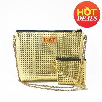 Duo shiny bag กระเป๋าสะพายข้าง กระเป๋าถือ พร้อมกระเป๋าคู่ fashion (สีทอง)