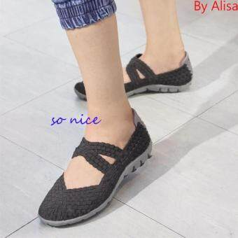 Alisa Shoes รองเท้าผ้าใบแฟชั่นComfortเพื่อสุขภาพ รุ่น F733 Black