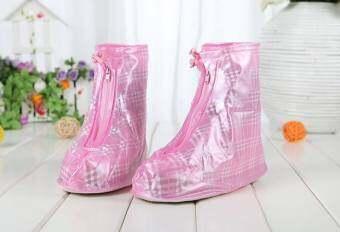 ปลอกรองเท้ากันน้ำ มุ้งมิ้งระดับ10 สีชมพูลายสาน ความยาว 28 cm