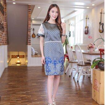 Pitchaya ชุดเดรสผ้าไทยลายเชิงนกยูง แต่งแขนลูกไม้ dt23(สีน้ำเงิน)
