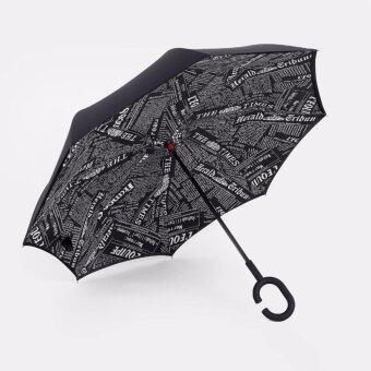 Reverse Umbrella ร่มหุบกลับด้านมือจับตัว C( black newspaper)