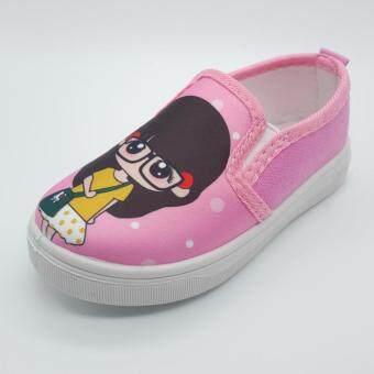 Alice Shoe รองเท้าเด็ก รองเท้าผ้าใบแฟชั่นแบบสวม เด็กผู้หญิง&เด็กผู้ชาย รุ่นCV058-P(สีชมพู)